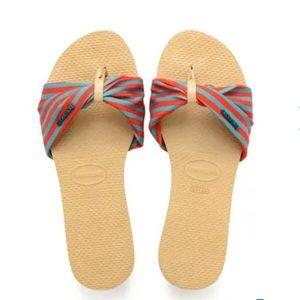 Havaianas St. Tropez Teal & Red Sandals 9/10 W